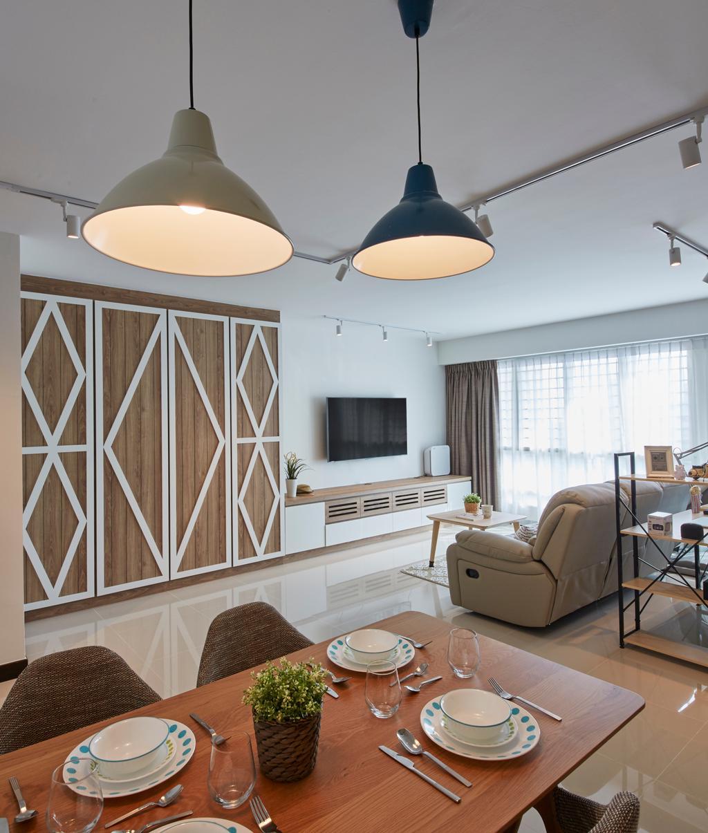 Scandinavian, HDB, Dining Room, Bukit Batok Street 22, Interior Designer, i-Chapter, Light Fixture, Chair, Furniture