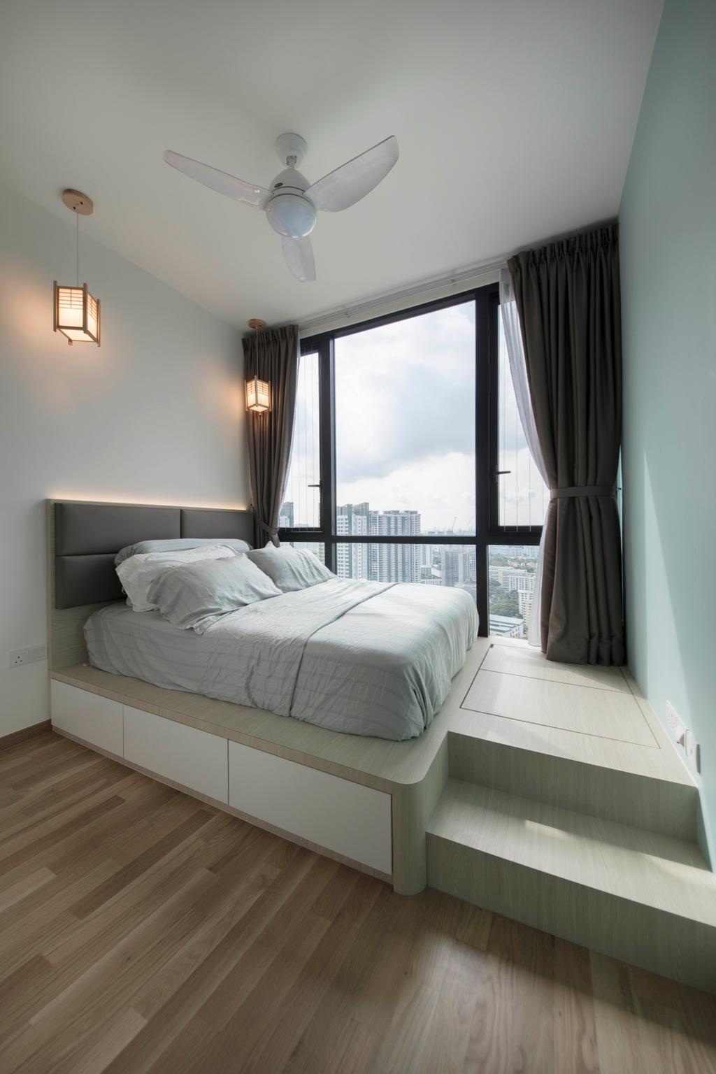 Scandinavian, Condo, Bedroom, The Trilinq, Interior Designer, Ascenders Design Studio, Minimalistic, Curtain, Home Decor, Indoors, Interior Design, Room