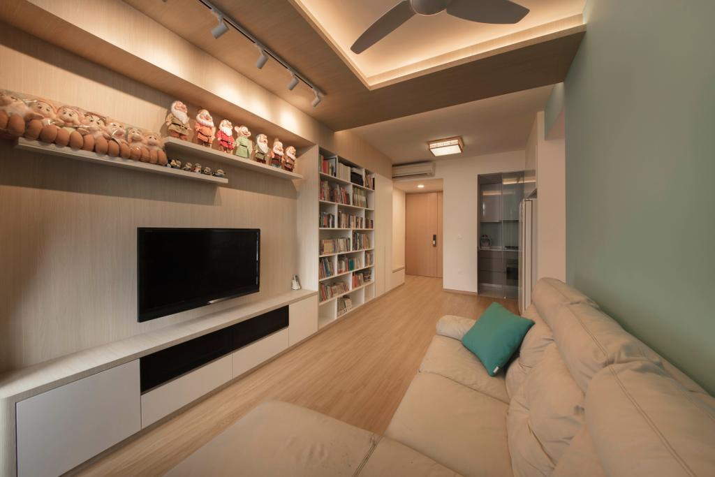 Scandinavian, Condo, The Trilinq, Interior Designer, Ascenders Design Studio, Minimalistic, Flooring, Electronics, Entertainment Center, Indoors, Interior Design