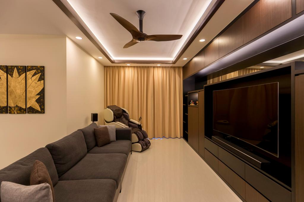 Modern, Condo, Living Room, Lake Life, Interior Designer, The Orange Cube, Couch, Furniture, Electronics, Entertainment Center, Home Theater
