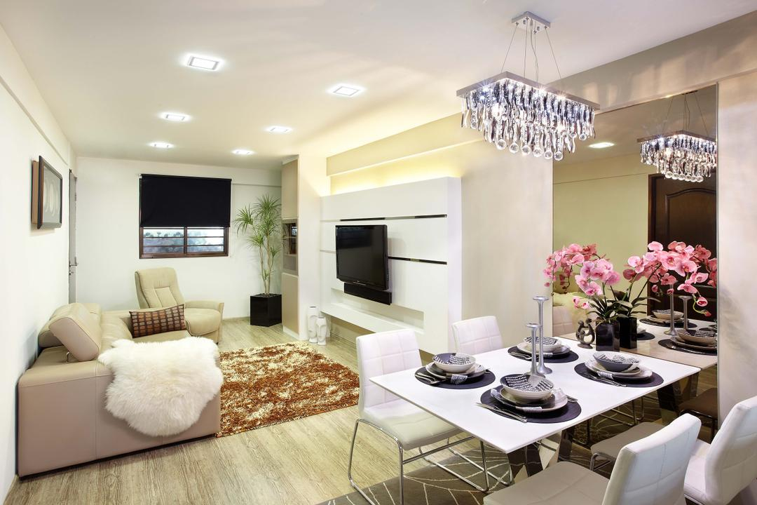 Yishun (Block 146), I-Bridge Design, Transitional, Living Room, HDB, Chandelier, Dining Table, Dining Room Chairs, Tableware, Plant Decor, Flowers, Plants, Sofa, Couch, Leather Sofa, Downlight, Carpet, Feature Wall, Tv Console, Mirror, Indoors, Interior Design, Dining Room, Room, Furniture