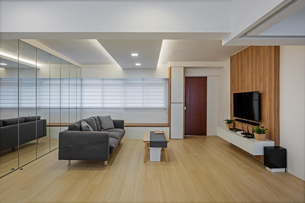 Scandinavian, HDB, Living Room, Jurong East Street 24, Interior Designer, DB Studio, Flooring, Couch, Furniture, Indoors, Interior Design