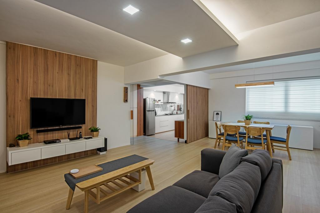 Scandinavian, HDB, Living Room, Jurong East Street 24, Interior Designer, DB Studio, Couch, Furniture, Dining Table, Table, Indoors, Room