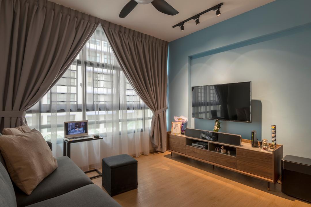 Geylang Serai, GB Interior Design, Scandinavian, Living Room, HDB, Furniture, Ottoman, Indoors, Room, Couch