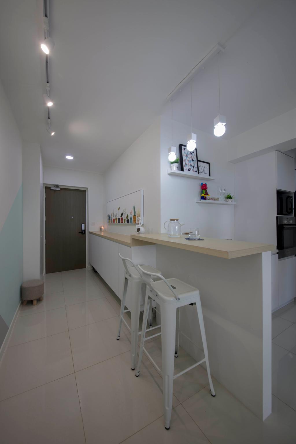 Scandinavian, HDB, Dining Room, Pasir Ris Drive 1, Interior Designer, D Initial Concept, Minimalistic, Chair, Furniture, Indoors, Interior Design, Kitchen, Room, Door, Sliding Door