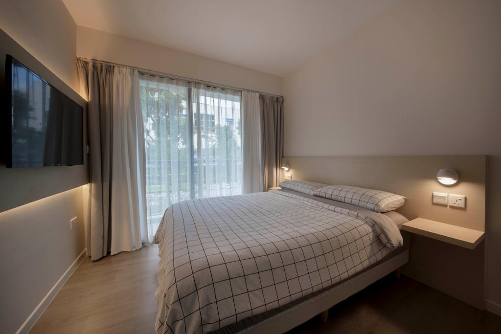 Scandinavian, HDB, Bedroom, Pasir Ris Drive 1, Interior Designer, D Initial Concept, Minimalistic, Bed, Furniture, Indoors, Interior Design, Room, Bathroom, Curtain, Home Decor