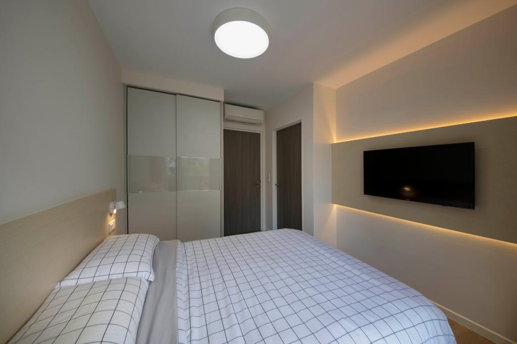 Scandinavian, HDB, Bedroom, Pasir Ris Drive 1, Interior Designer, D Initial Concept, Minimalistic, Fireplace, Hearth, Indoors, Interior Design, Room
