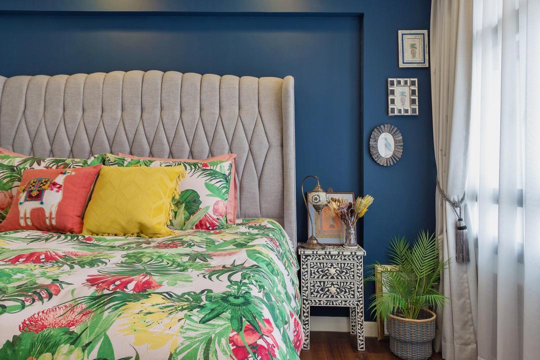 Clementi Avenue 3, Prozfile Design, Eclectic, Bedroom, HDB, Home Decor, Quilt, Indoors, Interior Design, Room, Cushion