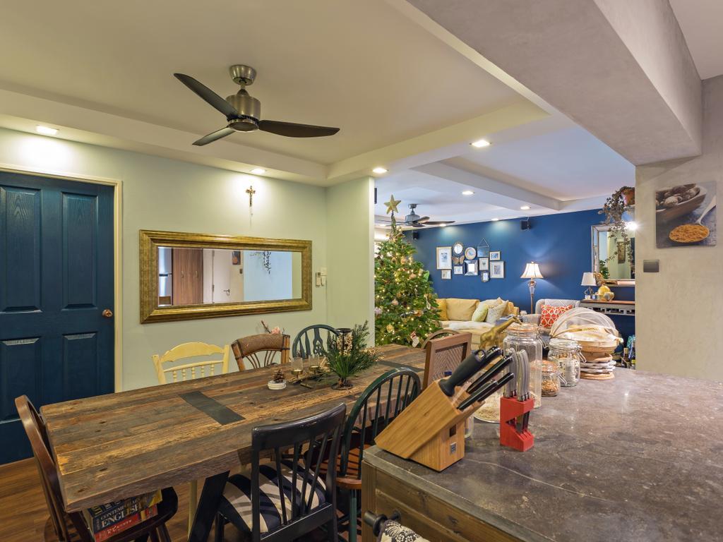 Eclectic, HDB, Dining Room, Clementi Avenue 3, Interior Designer, Prozfile Design, Furniture, Dining Table, Table, Indoors, Interior Design, Room, Bench