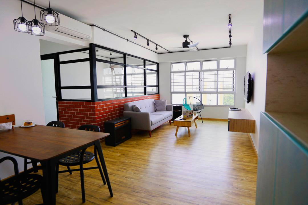Choa Chu Kang (Block 487), Voila, Retro, Living Room, HDB, Brick Walls, Dining Table, Dining Room Chairs, Chairs, Pendant Lamps, Hanging Lamps, Wooden Flooring, Floating Shelves, Couch, Sofa, Track Lights, Track Lighting, Chair, Furniture, Table, Dining Room, Indoors, Interior Design, Room