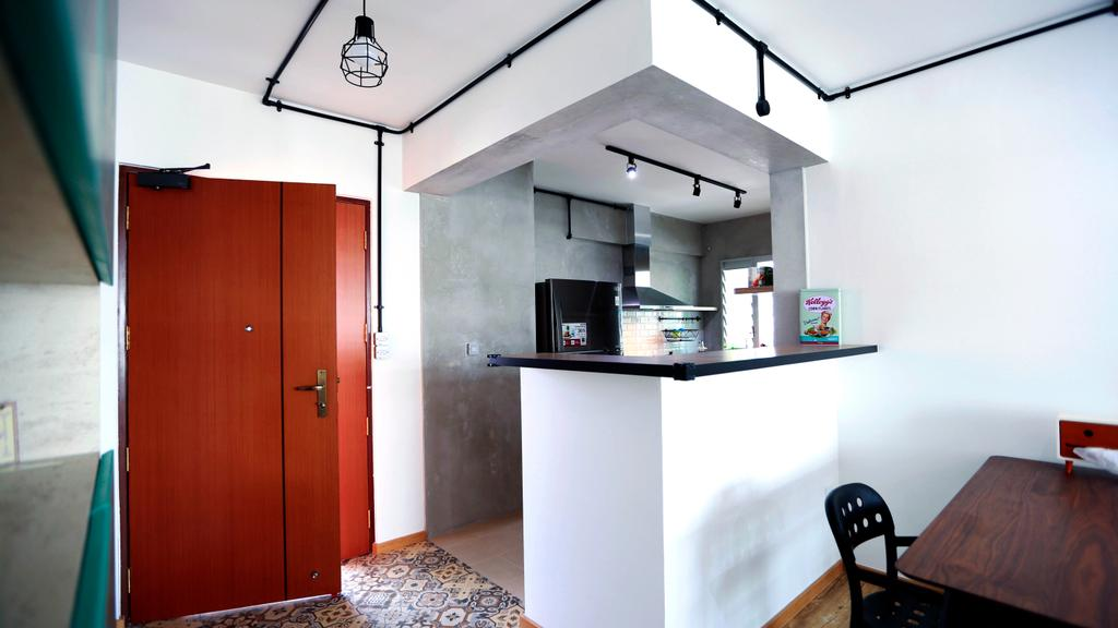 Retro, HDB, Kitchen, Choa Chu Kang (Block 487), Interior Designer, Voila, Door, Entrance, Red, Red Door, Industrial, Pendant Lamps, Hanging Lamps, Counter, Countertop, Track Lights, Exposed Pipe, Exposed Piping, Exhaust Hood, Floor Tiles, Chair, Furniture, Building, Housing, Indoors, Loft