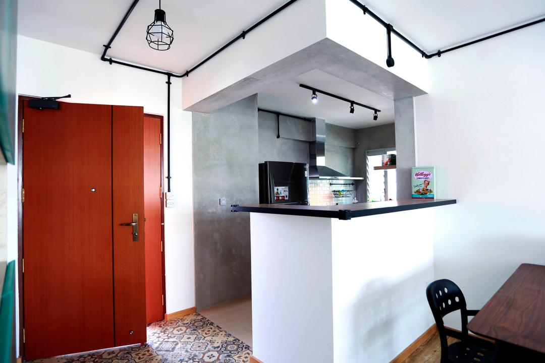 Choa Chu Kang (Block 487), Voila, Retro, Kitchen, HDB, Door, Entrance, Red, Red Door, Industrial, Pendant Lamps, Hanging Lamps, Counter, Countertop, Track Lights, Exposed Pipe, Exposed Piping, Exhaust Hood, Floor Tiles, Chair, Furniture, Building, Housing, Indoors, Loft