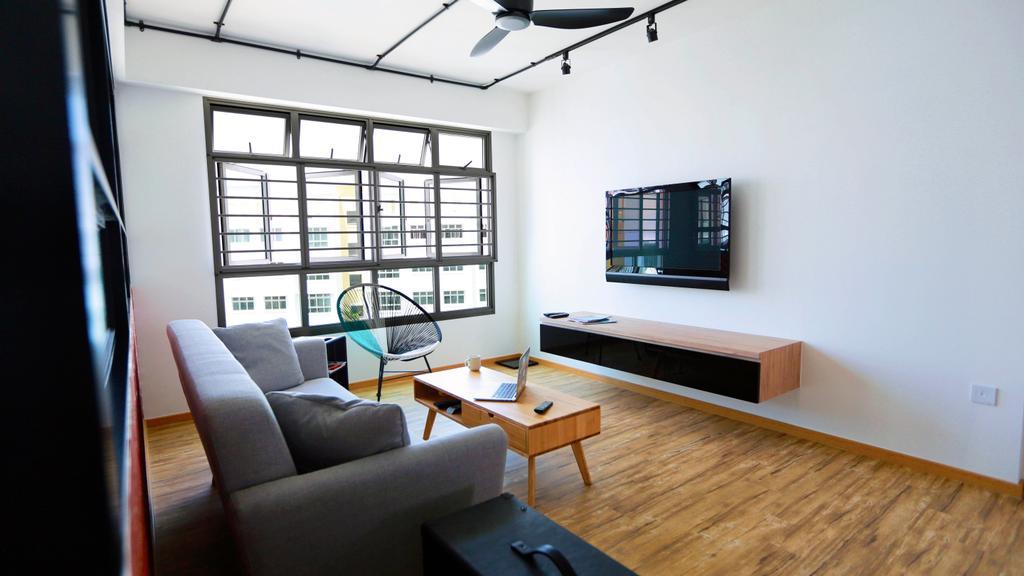 Retro, HDB, Living Room, Choa Chu Kang (Block 487), Interior Designer, Voila, Tv Console, Floating Shelves, Sofa, Couch, Coffee Table, Wooden Flooring, Chair, Furniture