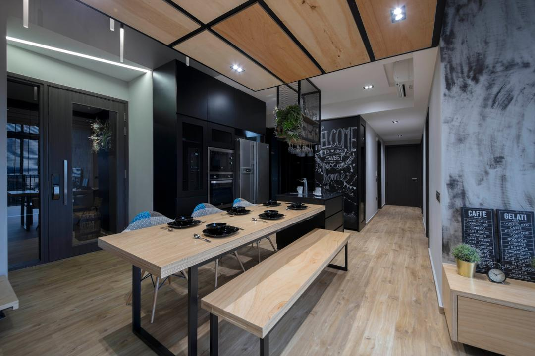 Fernvale Street, Edge Interior, Scandinavian, Industrial, Dining Room, Condo, Corridor, Plywood, Wood, Flora, Jar, Plant, Potted Plant, Pottery, Vase, Dining Table, Furniture, Table, Indoors, Interior Design, Room, Deck, Porch