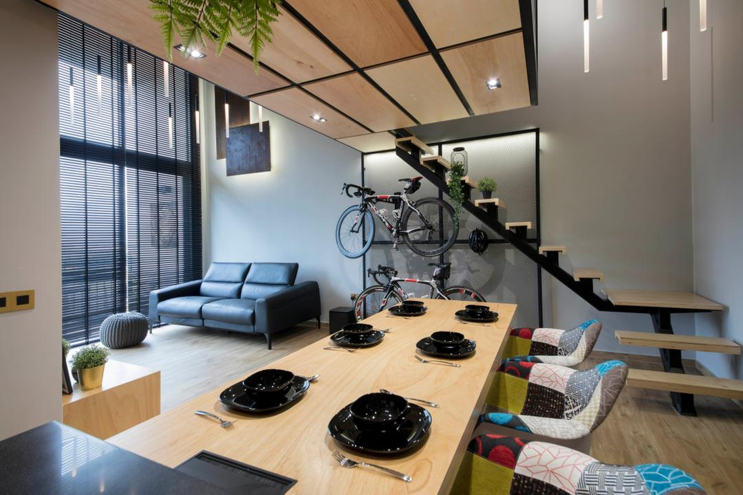 Fernvale Street, Edge Interior, Scandinavian, Industrial, Dining Room, Condo, Shelf, Bicycle, Bike, Mountain Bike, Transportation, Vehicle