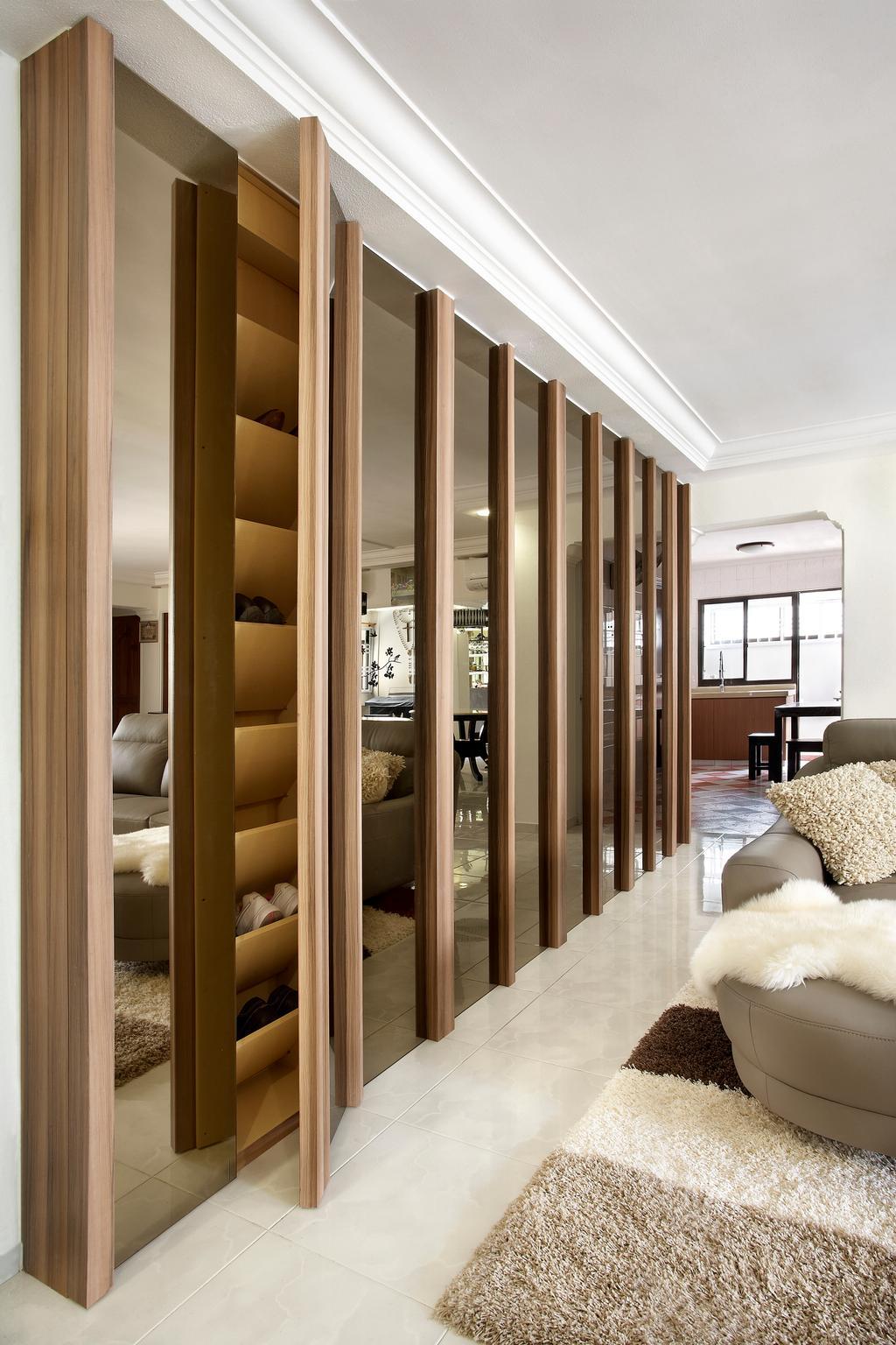 Modern, HDB, Living Room, Hougang, Interior Designer, I-Bridge Design, Cabinets, Storage, Hidden, Tiles, Carpet, Sofa, Mirror, Shoe Storage, Luxe, Elegant, Bedroom, Indoors, Interior Design, Room, Door, Folding Door