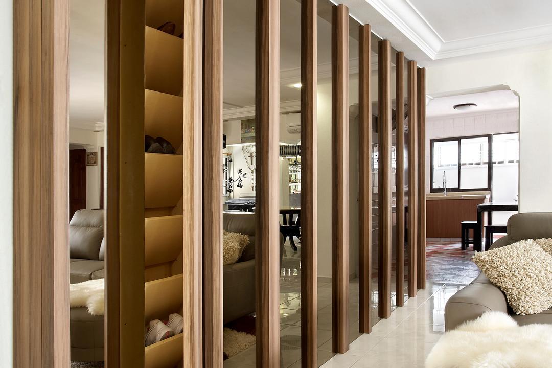 Hougang, I-Bridge Design, Modern, Living Room, HDB, Cabinets, Storage, Hidden, Tiles, Carpet, Sofa, Mirror, Shoe Storage, Luxe, Elegant, Bedroom, Indoors, Interior Design, Room, Door, Folding Door