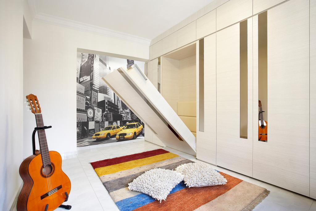 Modern, HDB, Bedroom, Hougang, Interior Designer, I-Bridge Design, Hidden Bed, Wardrobe, Guitar, Carpet, Bed, Art Piece, Rug, Storage Bed