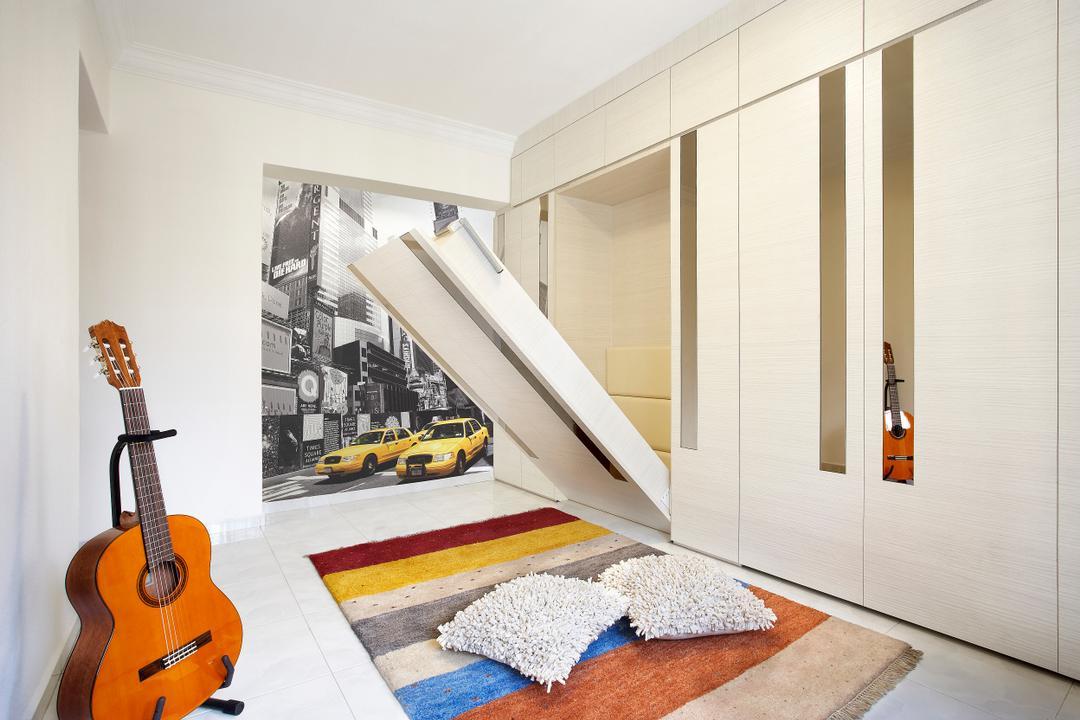 Hougang, I-Bridge Design, Modern, Bedroom, HDB, Hidden Bed, Wardrobe, Guitar, Carpet, Bed, Art Piece, Rug, Storage Bed