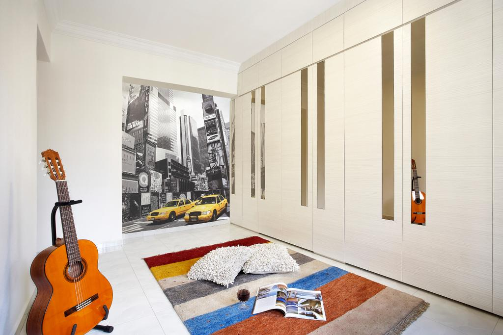 Modern, HDB, Bedroom, Hougang, Interior Designer, I-Bridge Design, Wardrobe, Carpet, Art Piece, Clean, White, Hidden Bed, Rug, Storage Bed, Building, Housing, Indoors, Interior Design, Room