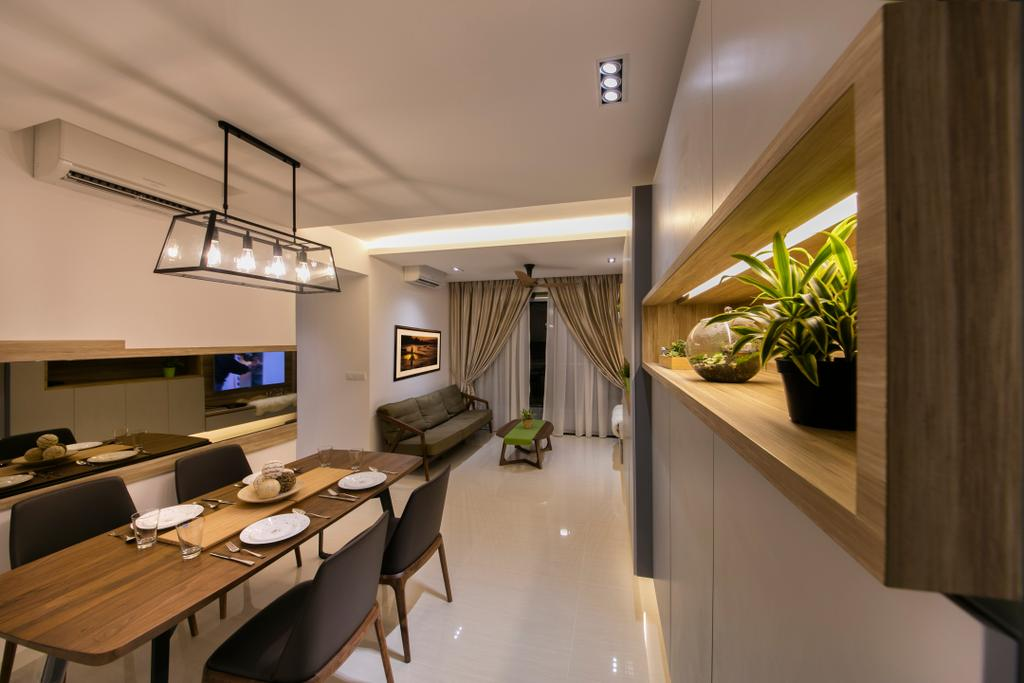 Scandinavian, Condo, Dining Room, Riversound (Block 9), Interior Designer, Starry Homestead, Dining Light, Dining Table, Dining Chairs, Cabinets, Lamniate, Curtain, Sofa, Cove Light, Indoors, Interior Design, Electronics, Monitor, Screen, Tv, Television, Chair, Furniture, Room, Table
