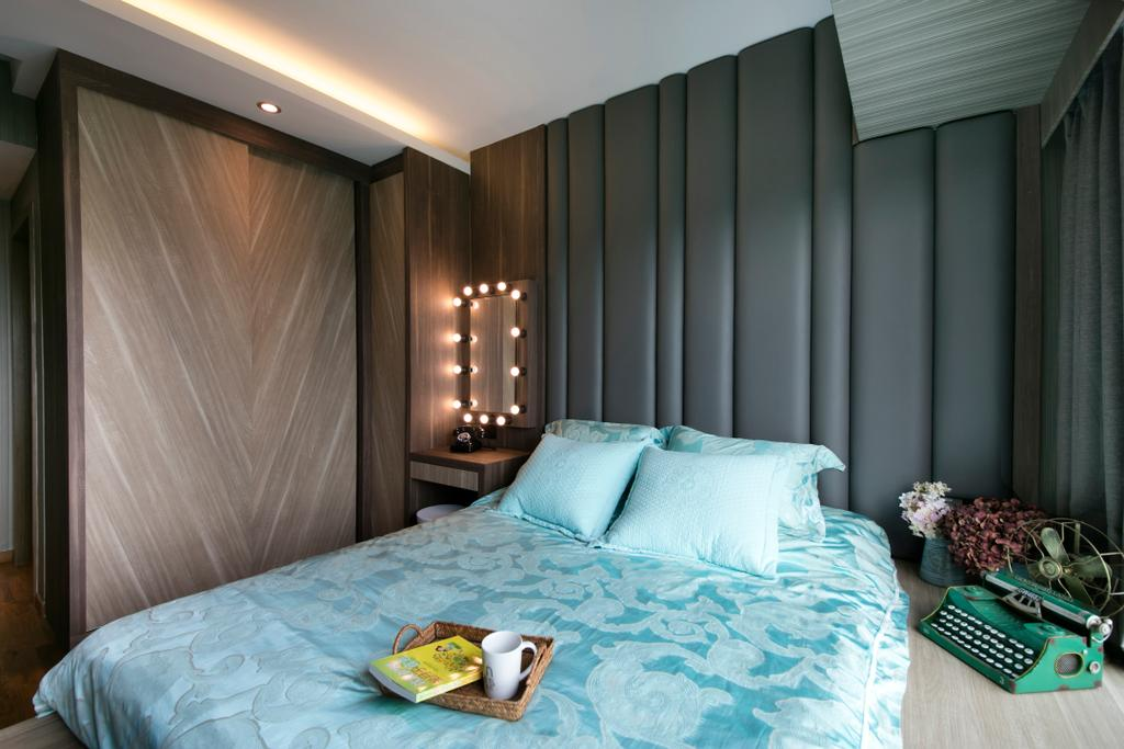 Modern, Condo, Bedroom, Bedok Reservoir Road, Interior Designer, Starry Homestead, Bed, Bed Frame, Mirror, Vanity Table, Wardrobe, Laminate, Cove Light, Indoors, Interior Design, Room