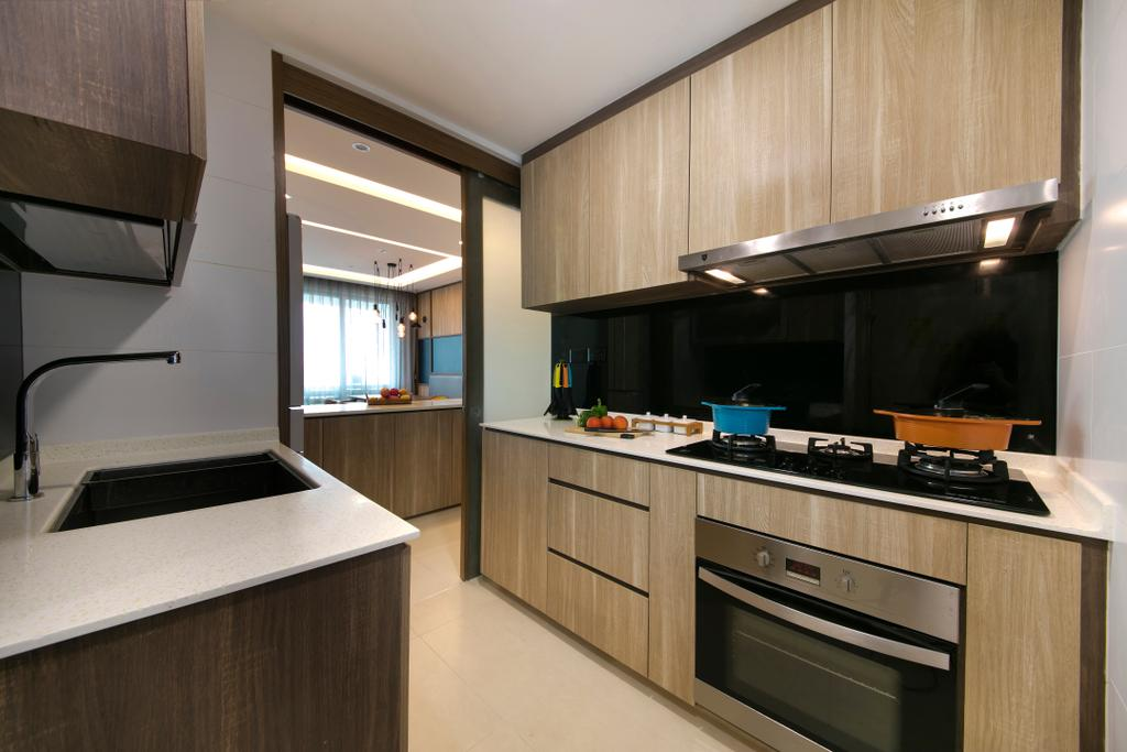 Modern, Condo, Kitchen, Bedok Reservoir Road, Interior Designer, Starry Homestead, Solid Top, Oven, Tiles, Glass Backing, Sliding Door, Open Kitchen, Hood, Stove, Cabinets, Drawers, Indoors, Interior Design, Room, Appliance, Electrical Device