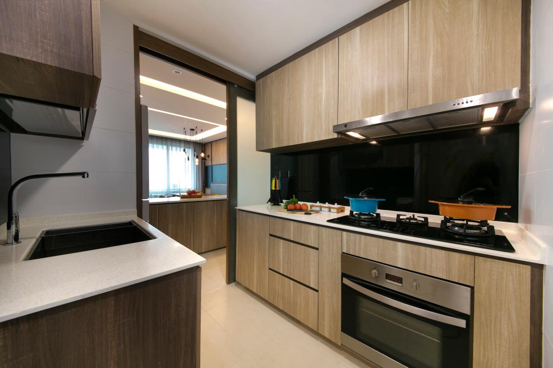 Bedok Reservoir Road, Starry Homestead, Modern, Kitchen, Condo, Solid Top, Oven, Tiles, Glass Backing, Sliding Door, Open Kitchen, Hood, Stove, Cabinets, Drawers, Indoors, Interior Design, Room, Appliance, Electrical Device