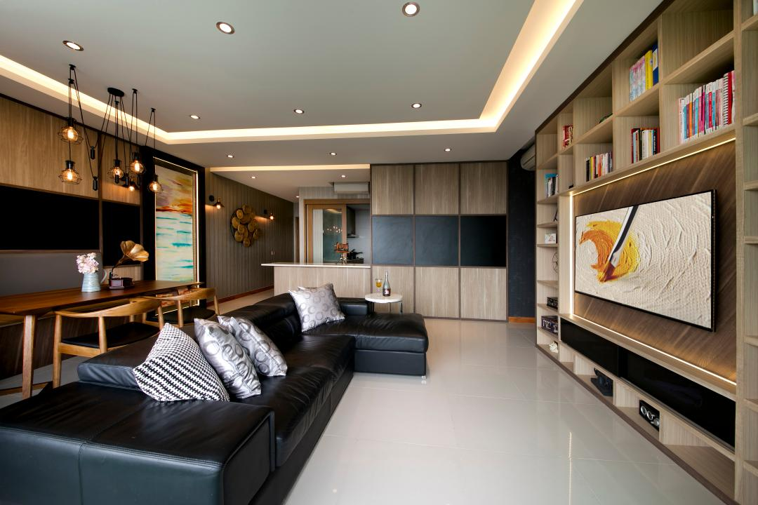 Bedok Reservoir Road, Starry Homestead, Modern, Living Room, Condo, Cove Light, Down Light, Contemporary, Sofa, Tv Consol, Shelving, Dining Chairs, Dining Cable, Dining Lights, Cabinets, Tiles, Couch, Furniture, Indoors, Interior Design, Chair