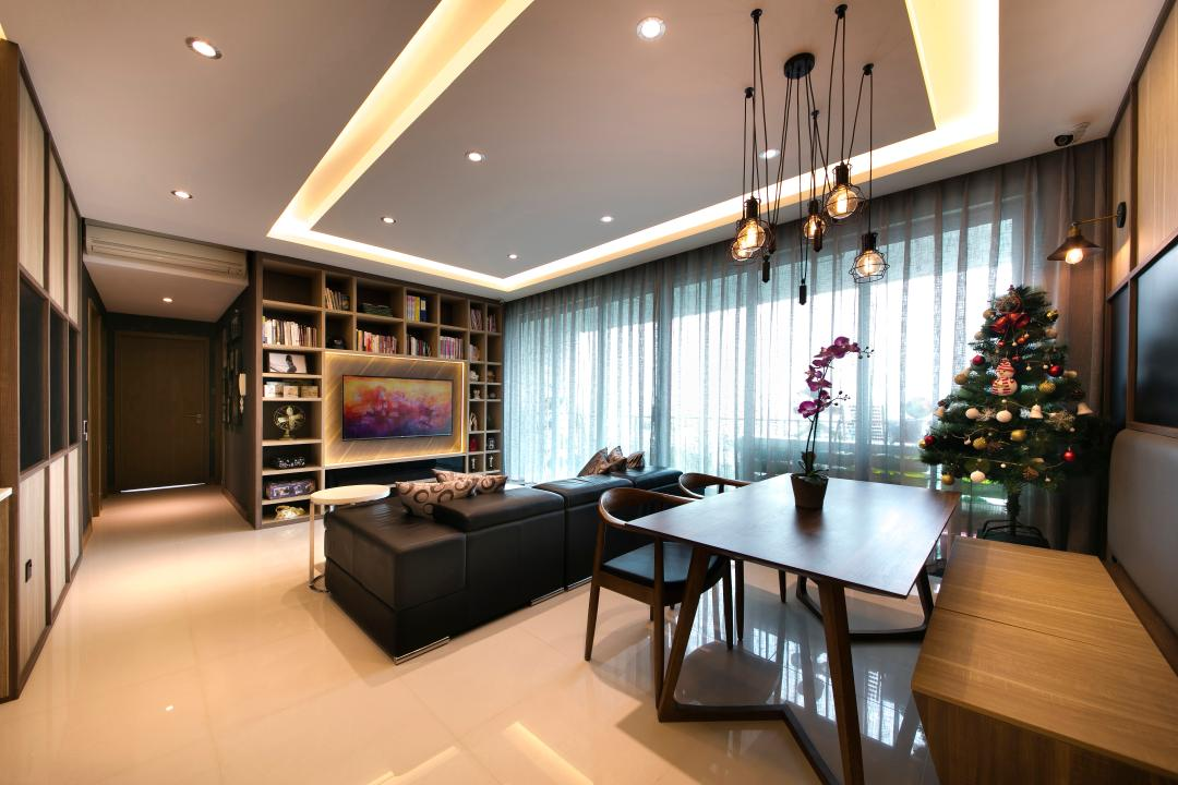 Bedok Reservoir Road, Starry Homestead, Modern, Dining Room, Condo, Sofa, Tv, Book Shleves, Dining Lights, Down Light, Cove Light, Tiles, Bench, Dining Chairs, Dining Table, Furniture, Tabletop, Table, Indoors, Interior Design, Room, Corridor