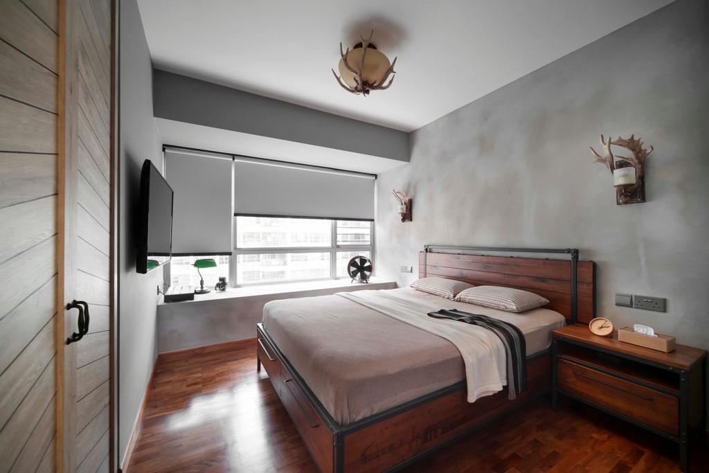 Eclectic, HDB, Bedroom, Tampines Central 7, Interior Designer, Versaform, Wood Floor, Wood Flooring, Parquet, Bed Frame, Blinds, Wood Cupboard, Wardrobe, Side Table, Cement Screed Wall, Grey, Gray, Antler, Bed, Furniture, Indoors, Interior Design, Room