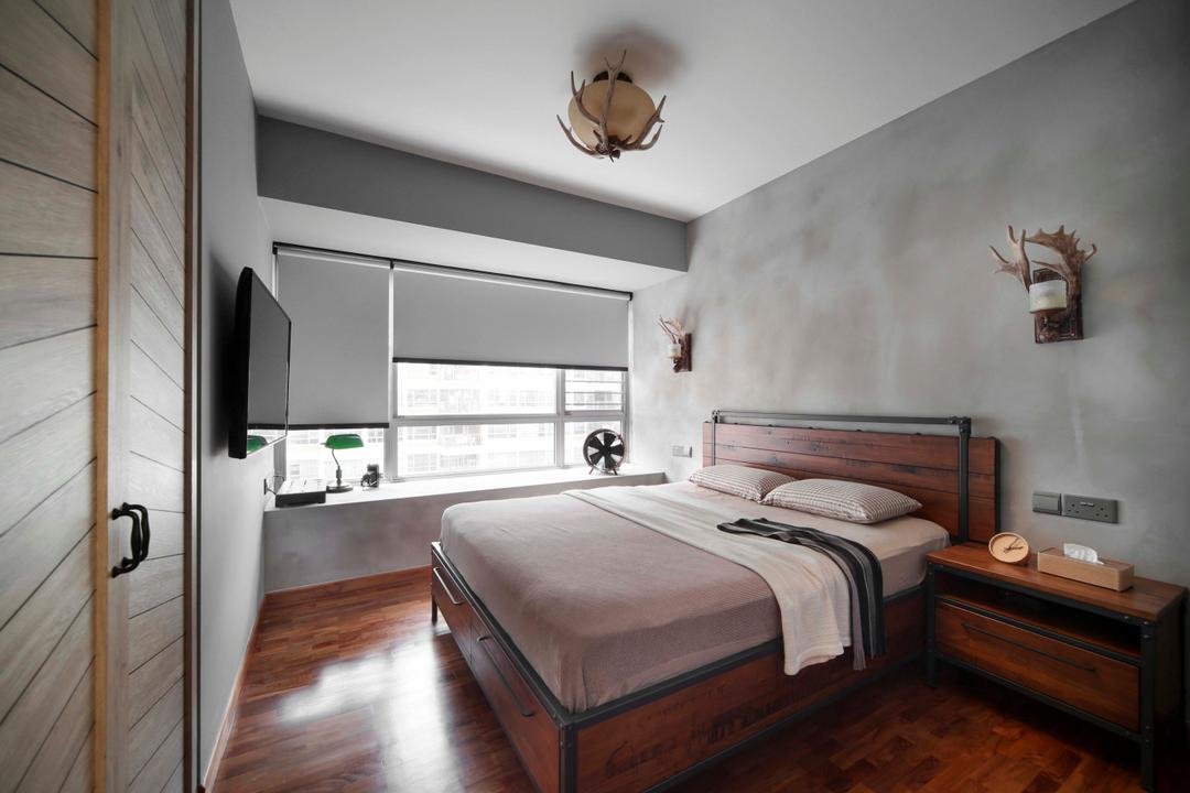 Tampines Central 7, Versaform, Eclectic, Bedroom, HDB, Wood Floor, Wood Flooring, Parquet, Bed Frame, Blinds, Wood Cupboard, Wardrobe, Side Table, Cement Screed Wall, Grey, Gray, Antler, Bed, Furniture, Indoors, Interior Design, Room