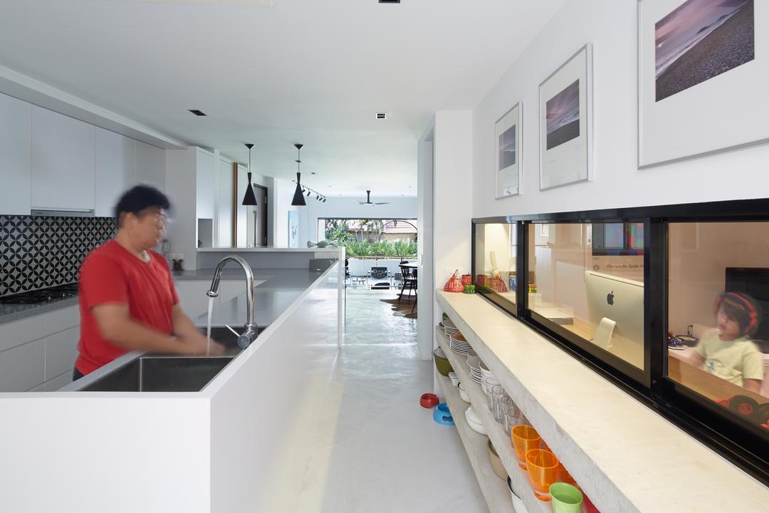 Hacienda, PROVOLK ARCHITECTS, Contemporary, Kitchen, Condo, Backsplash, Kitchen Cabinets, Open Cabinet, Doorless Cabinet, Workspace, Counter, Walkway, Sink, Sliding Door, Human, People, Person
