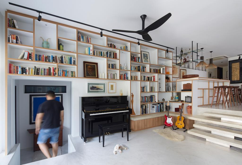 Contemporary, Condo, Living Room, Hacienda, Architect, PROVOLK ARCHITECTS, Piano, Steps, Bookcase, Ceiling Fan, Black Ceiling Fan, Book Display, Bookshelve, Wall Shelves, Stairs, Dining, Counter, Dog, Storage, Bar, Human, People, Person, Banister, Handrail, Furniture, Leisure Activities, Music, Musical Instrument