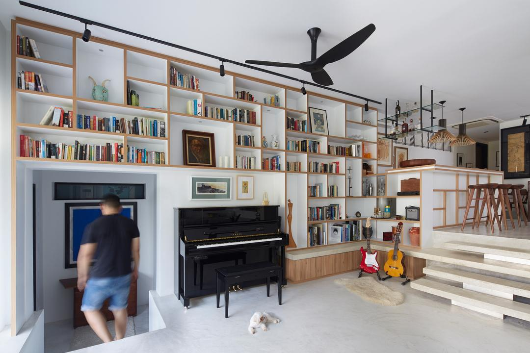 Hacienda, PROVOLK ARCHITECTS, Contemporary, Living Room, Condo, Piano, Steps, Bookcase, Ceiling Fan, Black Ceiling Fan, Book Display, Bookshelve, Wall Shelves, Stairs, Dining, Counter, Dog, Storage, Bar, Human, People, Person, Banister, Handrail, Furniture, Leisure Activities, Music, Musical Instrument