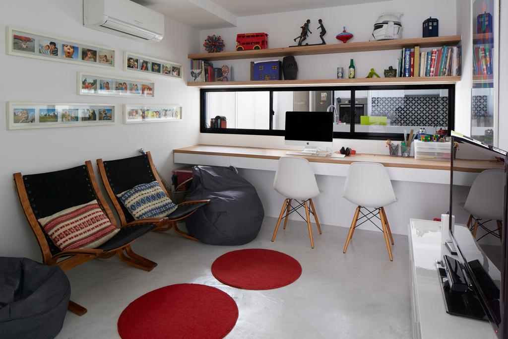 Contemporary, Condo, Study, Hacienda, Architect, PROVOLK ARCHITECTS, Armchair, Bench, Photoframes, Wall Art, Eames Chair, Study Room, Workspace, Work Desk, Wooden Table, Legless Table, White, Bookshelf, Book Shelves, Book Display, Storage, Chair, Furniture, Indoors, Room, HDB, Building, Housing