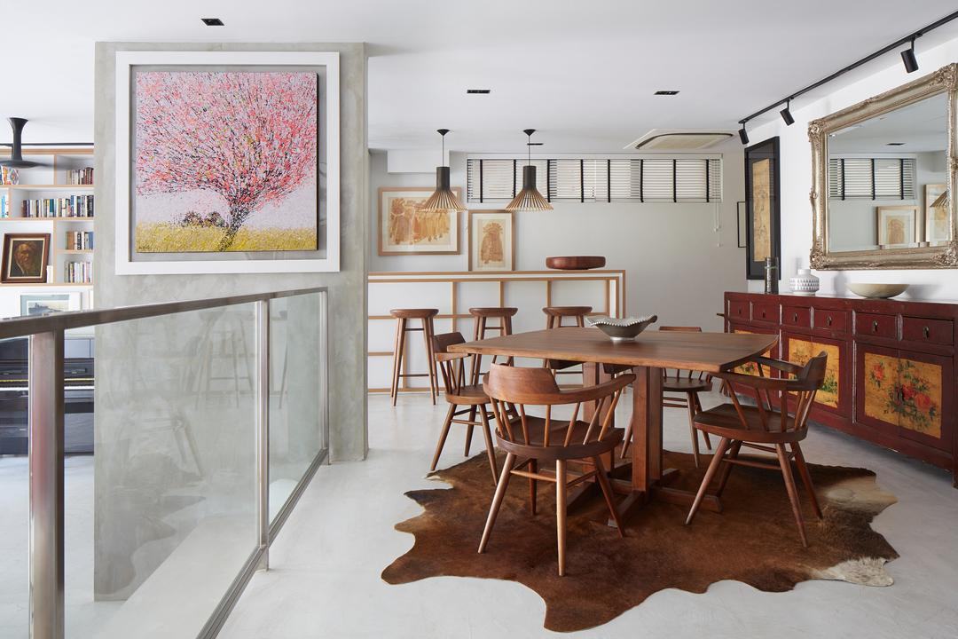 Hacienda, PROVOLK ARCHITECTS, Contemporary, Dining Room, Condo, Cowhide, Wooden Table, Traditional, Brown, Walnut, Traditional Chest, Vintage, Cowhide Leather, Rug, Wall Frame, Glass Dividers, Mirror, Wall Mirror, Chest Drawers, Dining Table, Furniture, Table, Chair, Art, Painting, Indoors, Interior Design, Room