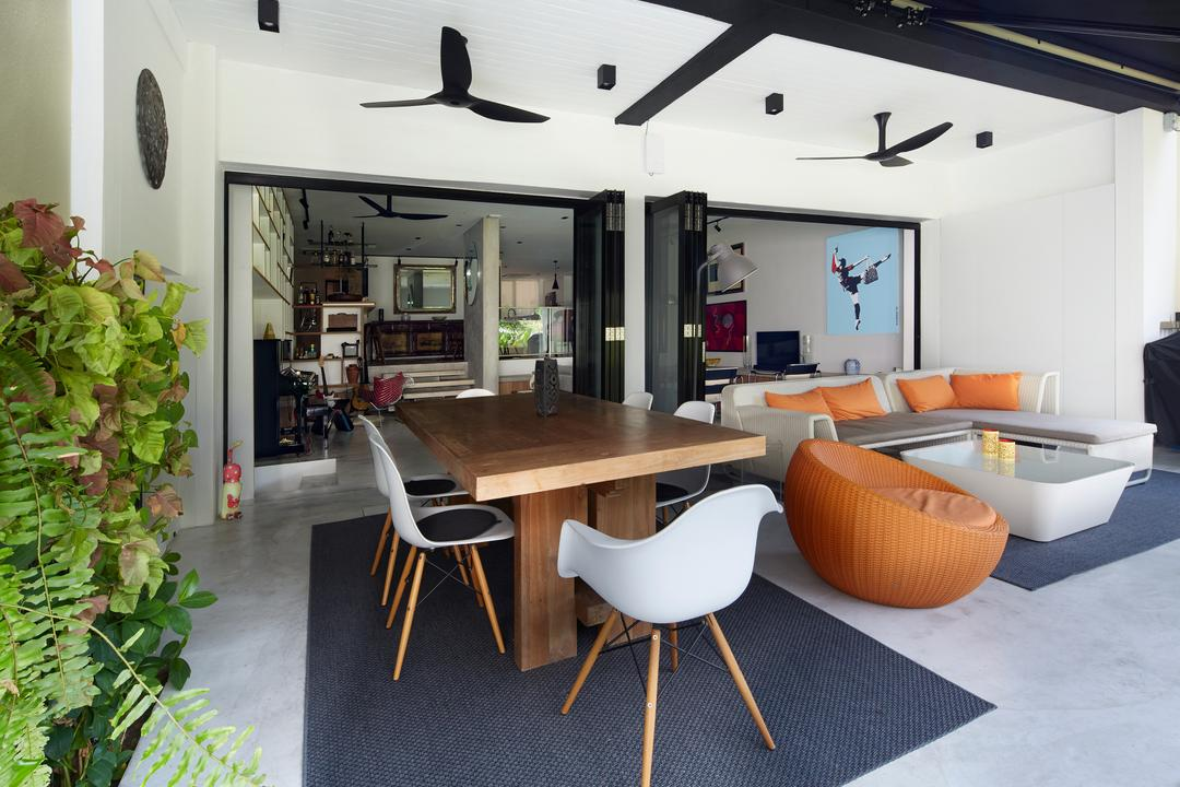 Hacienda, PROVOLK ARCHITECTS, Contemporary, Balcony, Condo, Outdoor Furniture, Lounge, Dining, Natural Wood, Recycled Wood, Wooden Table, Pencil Legs, Plants, Cane Chair, Rug, Foyer, Porch, Flora, Plant, Vine, Chair, Furniture, Dining Room, Indoors, Interior Design, Room