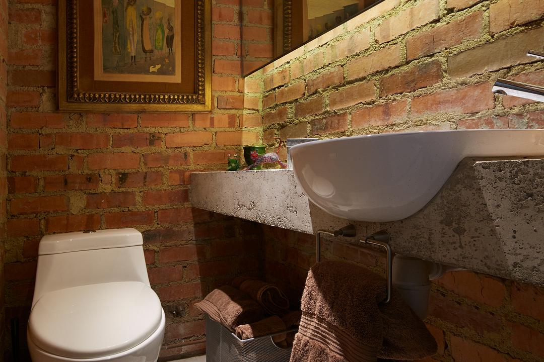 Hacienda, PROVOLK ARCHITECTS, Contemporary, Bathroom, Condo, Rustic, Raw, Industrial, Brick, Water Closet, Cement, Rough, Unfinished, Mirror, Concealed Mirror, Wall Frame, Toilet