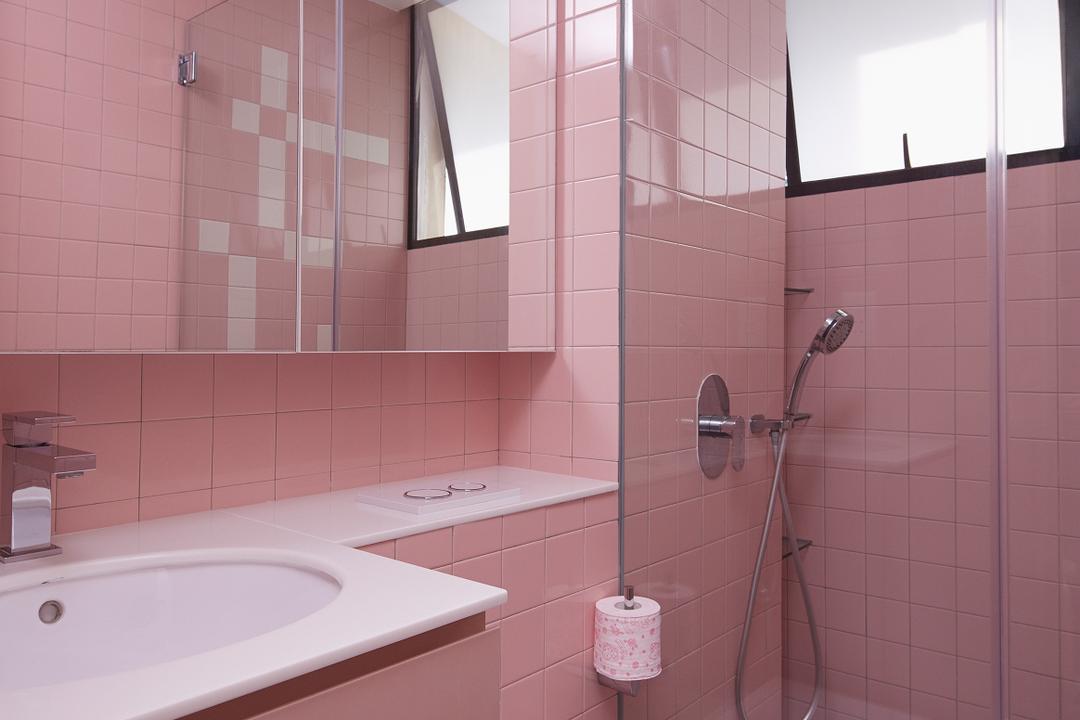 Spanish Village, PROVOLK ARCHITECTS, Modern, Bathroom, Condo, Pink, Pink Tiles, Pink And White, Vanity, Sink, Kids Bathroom, Girls, Indoors, Interior Design, Room