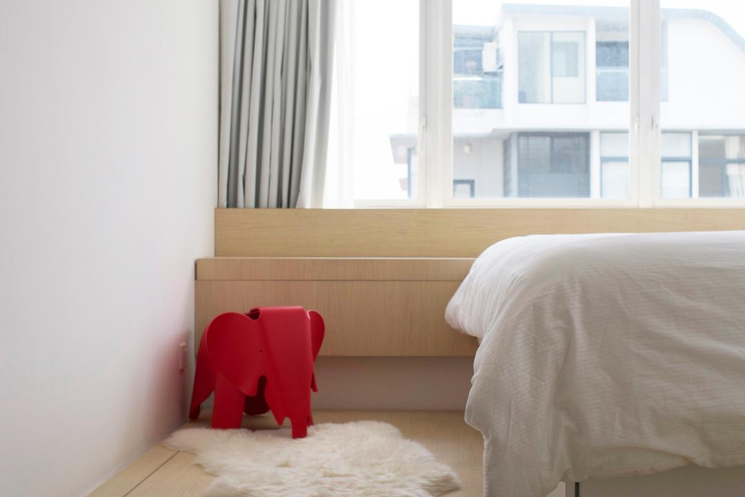 Telok Kurau, PROVOLK ARCHITECTS, Minimalistic, Bedroom, Condo, Rug, Platform Bed, White, Grey, Gray, Neutral Colours, Soft Colours, Bed, White Wood, Curtains, Windows, Steps, Storage