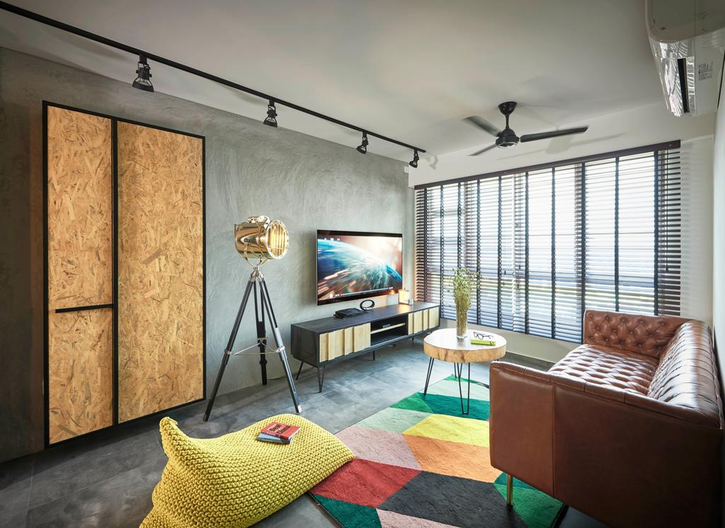 Industrial, HDB, Living Room, Toa Payoh Crest, Interior Designer, Versaform, Retro, Tripod, Chair, Furniture