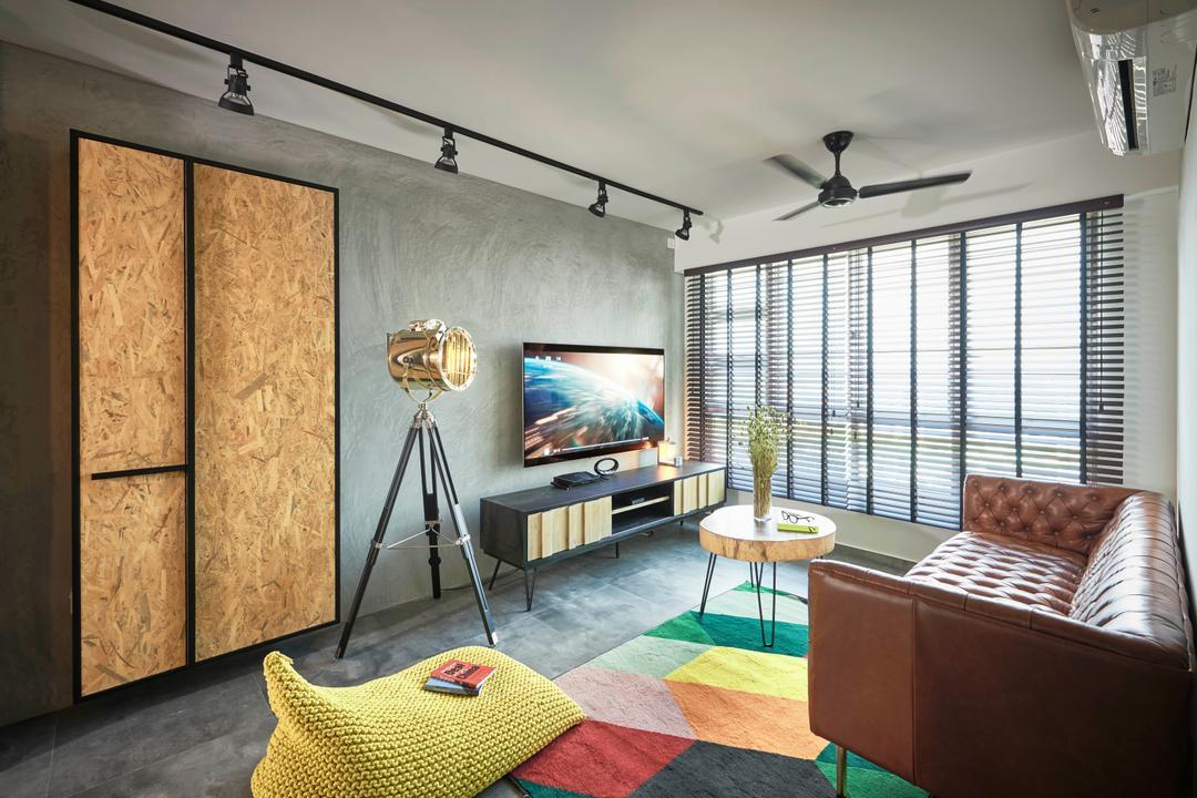 Toa Payoh Crest, Versaform, Industrial, Retro, Living Room, HDB, Tripod, Chair, Furniture