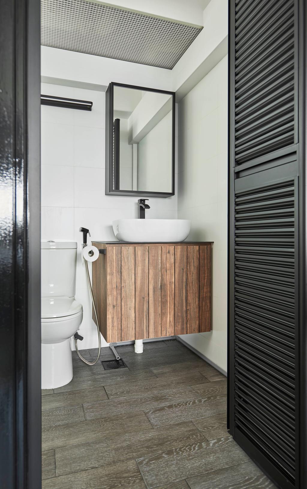 Industrial, HDB, Bathroom, Toa Payoh Crest, Interior Designer, Versaform, Retro, Indoors, Interior Design, Room