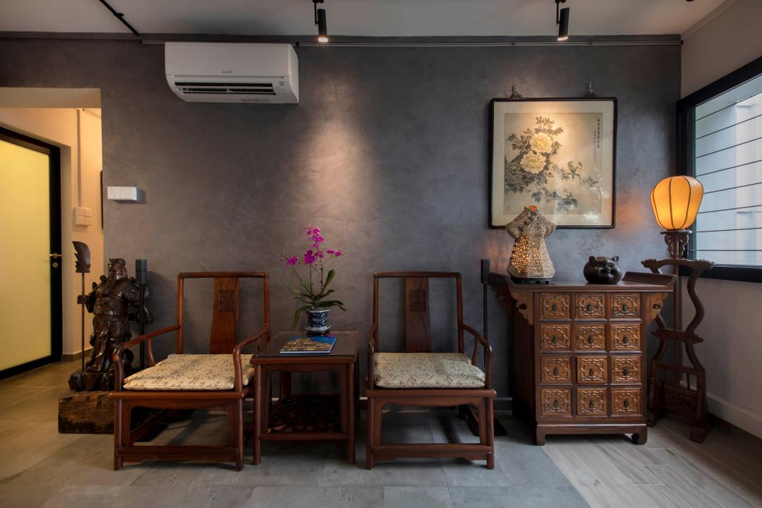 Hougang Street 51, New Age Interior, Eclectic, Living Room, HDB, Armor, Chair, Furniture, Dining Room, Indoors, Interior Design, Room, Lamp, Lampshade
