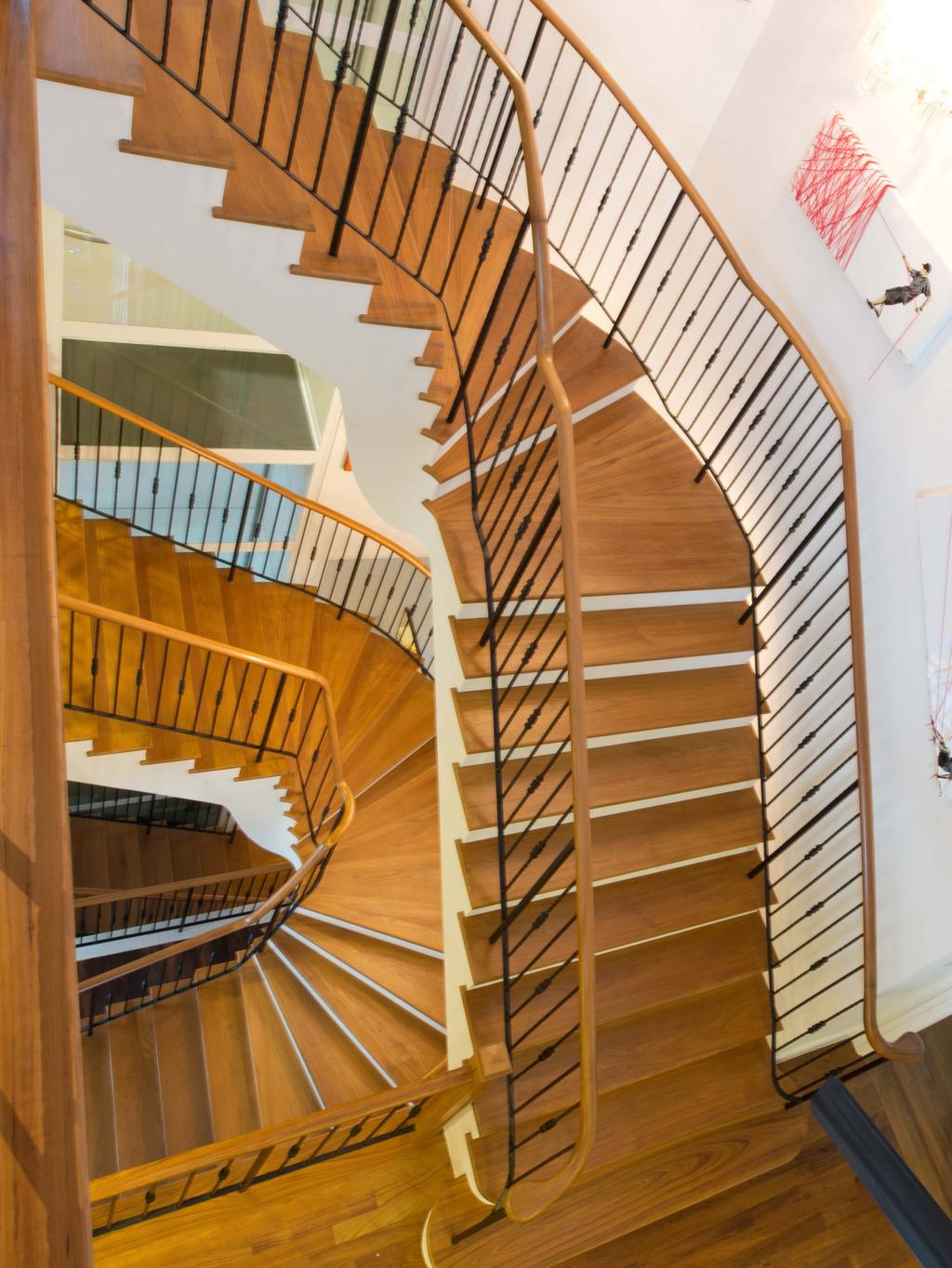 Modern, Landed, Bukit Sedap, Architect, TENarchitects, Stairs, Stairway, Staircase, Wooden Stairs, Banister, Handrail