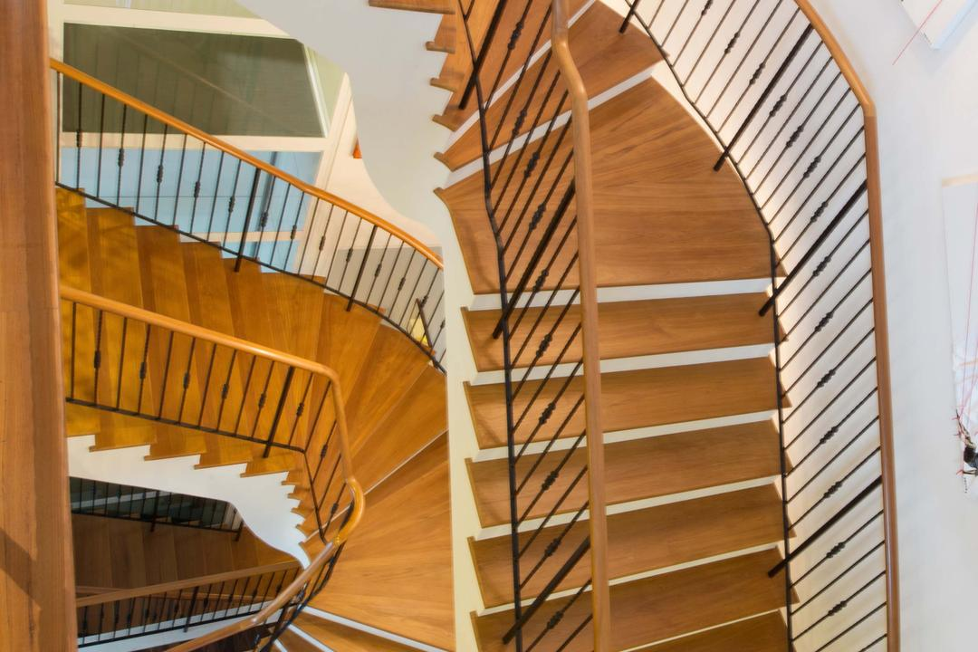Bukit Sedap, TENarchitects, Modern, Landed, Stairs, Stairway, Staircase, Wooden Stairs, Banister, Handrail