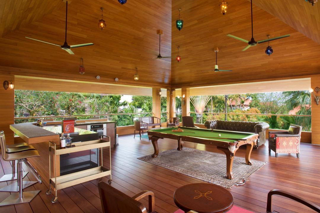 Bukit Sedap, TENarchitects, Modern, Landed, Terrace, Billiard Room, Indoors, Room, Chair, Furniture, Dining Table, Table, Dining Room, Interior Design