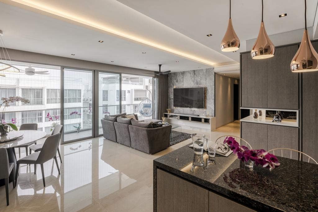 Modern, Condo, Kitchen, A Treasure Trove, Interior Designer, T&T Design Artisan, Dining Table, Furniture, Table, Flora, Jar, Plant, Potted Plant, Pottery, Vase, Dining Room, Indoors, Interior Design, Room, Glass, Fireplace, Hearth, Chair