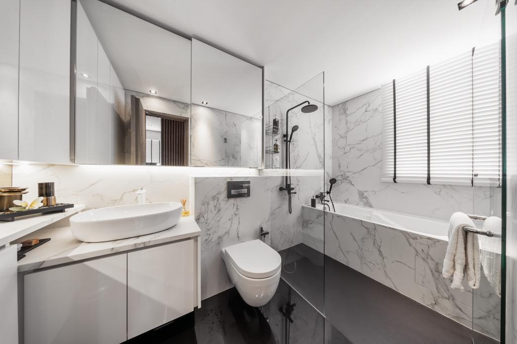 Modern, Condo, Bathroom, A Treasure Trove, Interior Designer, T&T Design Artisan, Bath Tub, Bathtub, Indoors, Interior Design, Room, Toilet